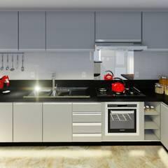 Apartamento de Cobertura com Terraço: Armários e bancadas de cozinha  por Joana Rezende Arquitetura e Arte