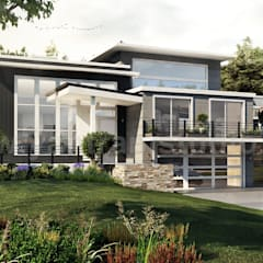 Modern Flat Roof Landscaping Exterior House Concept of Architectural Rendering Studio by 3D Architectural Design, London – UK:  Villas by Yantram Architectural Design Studio