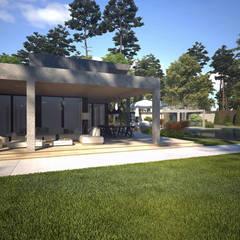 Sia Moore Archıtecture Interıor Desıgn – Kaş Villa - Antalya, Türkiye :  tarz Ön avlu, Modern Tuğla