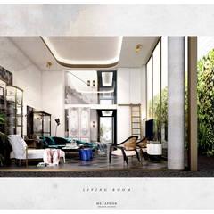 :  ห้องนั่งเล่น โดย Metaphor Design Studio,