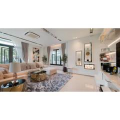 NS house / พระราม2:  ห้องนั่งเล่น by Thaan Studio