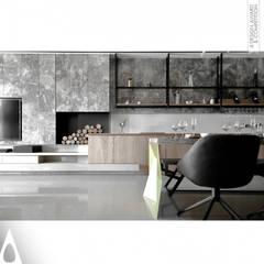 城沐光 | Urban Twilight 住家:  客廳 by 張立群建築師事務所 |集創國際室內裝修設計有限公司