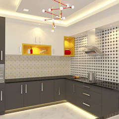Apartment Interiors:  Kitchen by Honeybee Interior Designers