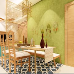 Bohemian Styled Premium Interiors for a 3 BHK at Bangalore:  Dining room by Aikaa Designs,Country Plywood