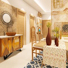 Bohemian Styled Premium Interiors for a 3 BHK at Bangalore:  Dining room by Aikaa Designs,Country Solid Wood Multicolored