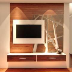 Ruang Keluarga oleh Aikaa Designs, Minimalis Kayu Lapis