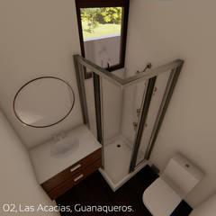 Diseño de Cabañas Las Acacias en el balneario Guanaqueros en Coquimbo: Baños de estilo  por Territorio Arquitectura y Construccion - La Serena