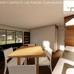 Diseño de Cabañas Las Acacias en el balneario Guanaqueros en Coquimbo: Comedores de estilo  por Territorio Arquitectura y Construccion - La Serena