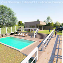 Diseño de Cabañas Las Acacias en el balneario Guanaqueros en Coquimbo: Piscinas de estilo  por Territorio Arquitectura y Construccion - La Serena
