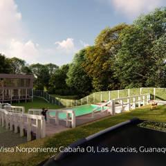 Diseño de Cabañas Las Acacias en el balneario Guanaqueros en Coquimbo: Jardines de estilo  por Territorio Arquitectura y Construccion - La Serena