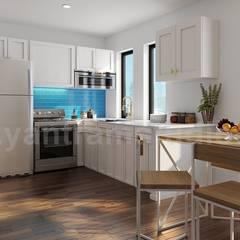 Modern Exterior & Interior Apartment Building design ideas by Architectural Design Studio, Amsterdam – Netherland:  Kitchen units by Yantram Architectural Design Studio