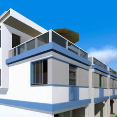 Condomínio de residências triplex por ARQ-PB Arquitetura e Construção Moderno Tijolo