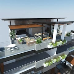 4-Storey Duplex Residence with Roof Deck:  Balcony by Structura Architects,