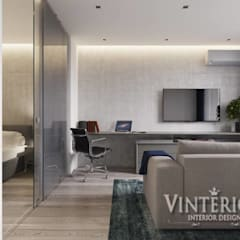 Квартира 1-комнатная, ЖК «Глория Парк», г. Киев: Медиа комнаты в . Автор – Vinterior - дизайн интерьера