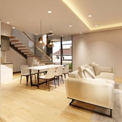 2-Storey Scandinavian-Inspired Residence:  Living room by Structura Architects, Scandinavian