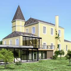 Extension d'un château particulier en Sarthe: Terrasse de style  par AZ Deco,