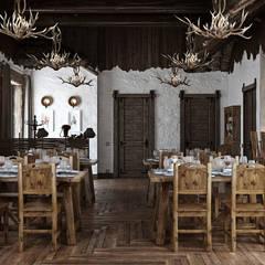 Restaurantes de estilo  por mlynchyk interiors , Rústico Derivados de madera Transparente