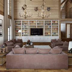 Residence: Гостиная в . Автор – mlynchyk interiors , Рустикальный Дерево Эффект древесины