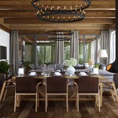 Guesthouse with SPA: Гостиная в . Автор – mlynchyk interiors , Рустикальный