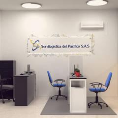 Diseño de oficina servi logística.: Estudios y despachos de estilo  por Magrev - Diseño y construcción de espacios.