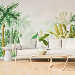Tropical touch: styl , w kategorii Salon zaprojektowany przez LazyPanda Studio