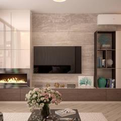 """Дизайн гостиной в 2-х комнатной квартире в ЖК """"Симфония"""", г.Краснодар: Гостиная в . Автор – Студия интерьерного дизайна happy.design,"""