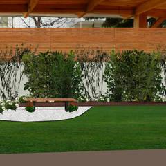DISEÑO JARDÍN-PAISAJISMO EN SANTIAGO: Jardines de estilo  por HZ ARQUITECTOS SANTIAGO DISEÑO COCINAS JARDINES PAISAJISMO REMODELACIONES OBRA