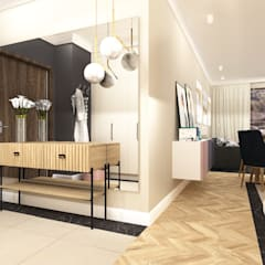 Mieszkanie na Woli: styl , w kategorii Korytarz, przedpokój zaprojektowany przez ANNA HIRSZBERG 'HIRSZBERG' PRACOWNIA ARCHITEKTONICZNA