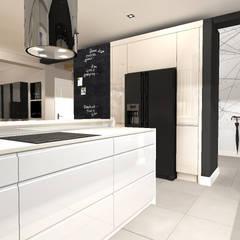 Mieszkanie z antresolą Bydgoszcz: styl , w kategorii Kuchnia zaprojektowany przez ANNA HIRSZBERG 'HIRSZBERG' PRACOWNIA ARCHITEKTONICZNA