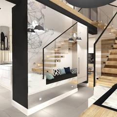 Mieszkanie z antresolą Bydgoszcz: styl , w kategorii Korytarz, przedpokój zaprojektowany przez ANNA HIRSZBERG 'HIRSZBERG' PRACOWNIA ARCHITEKTONICZNA