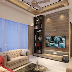 3BHK home design at Lodha in Thane, Mumbai :  Living room by Square 4 Design & Build