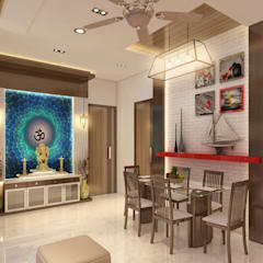 3BHK home design at Lodha in Thane, Mumbai :  Dining room by Square 4 Design & Build,Modern