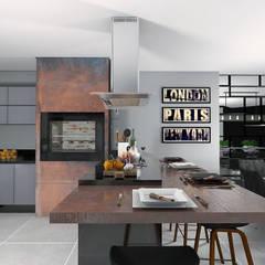Área Gourmet por Projeto 3D Online Moderno Madeira Efeito de madeira