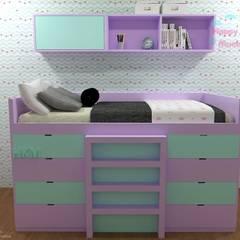 Cama Yanarit: Recámaras para adolescentes de estilo  por Happy Kids Muebles, Moderno Madera maciza Multicolor