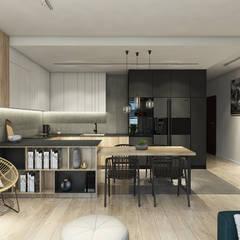 Apartament w Bielsku-Białej: styl , w kategorii Aneks kuchenny zaprojektowany przez TIKA DESIGN