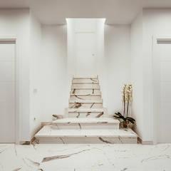 Casa de diseño cúbico en Toledo: Escaleras de estilo  de OOIIO Arquitectura en Madrid