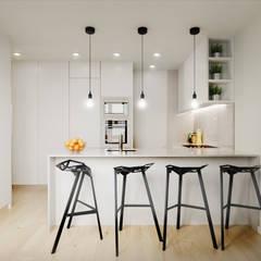 Apartamento T3 Braga: Armários de cozinha  por Fachada Arquitectos