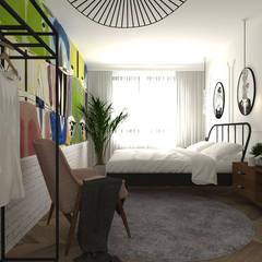 mieszkanie//89: styl , w kategorii Sypialnia zaprojektowany przez TOTAMSTUDIO pracownia architektury wnętrz
