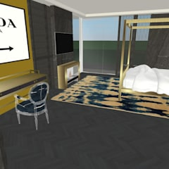 Industry Golden:  Bedroom by Aquarii Designs,