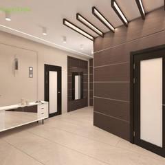 Дизайн интерьера коттеджа 490 кв. м в современном стиле: Коридор и прихожая в . Автор – ЕвроДом
