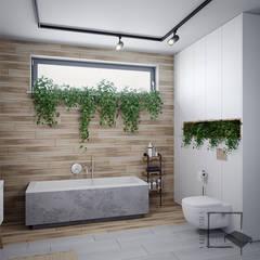 Nad Świdrem: styl , w kategorii Łazienka zaprojektowany przez 4 kąty a stół 5 Pracownia Projektowa Ewelina Białobrzewska