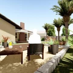 Sanal Mimarlık Hizmetleri – Arka Bahçe Düzenlenmesi:  tarz Ofis Alanları,