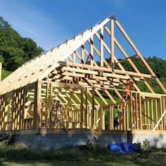 Timber frame home in Grant, California. Structural design:  Houses by S3DA Design, Classic