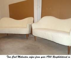 Carl Malmstens Sofas reupholstered in Sheepskin by Steffani Antiques & Design