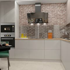 Дизайн-проект двухкомнатной квартиры по  ул. Олешева г. Минск: Встроенные кухни в . Автор – BOHO DESIGN,