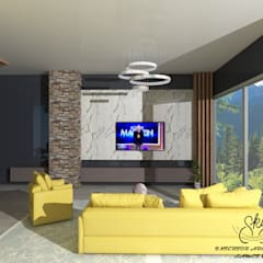 SKY İç Mimarlık & Mimarlık Tasarım Stüdyosu – Taş Ev Projemiz  ( Kazıklı - Muğla ):  tarz Oturma Odası