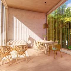 Cabaña Puente Coral: Salas de estilo  por Eva Arceo Interiorismo