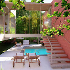 Garden Pool by Eva Arceo Interiorismo, Tropical لکڑی Wood effect