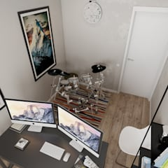 Трёхкомнатная квартира для молодой семьи на востоке Москвы.: Рабочие кабинеты в . Автор – TOL architects
