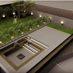 Residence for Mr Patel in Bangalore:  Front yard by Studio . abhilashnarayan